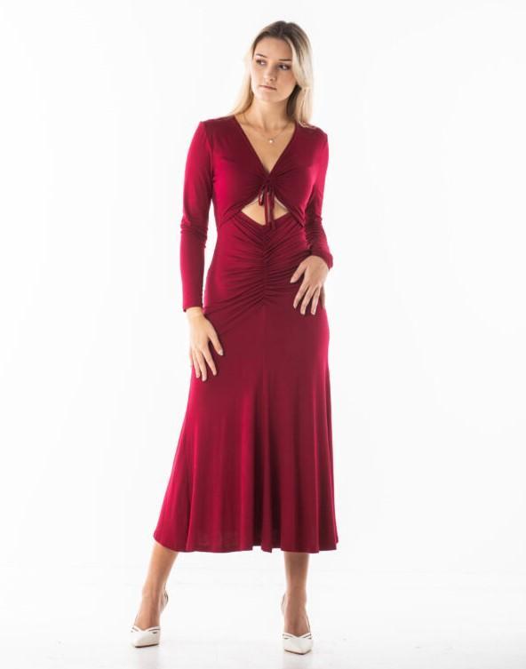 NANA dzianinowa sukienka midi w kolorze wina