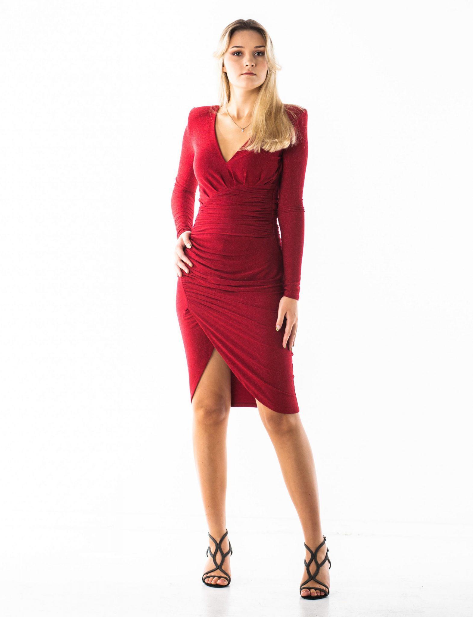 SADE sukienka mini z połyskiem i drapowaniami