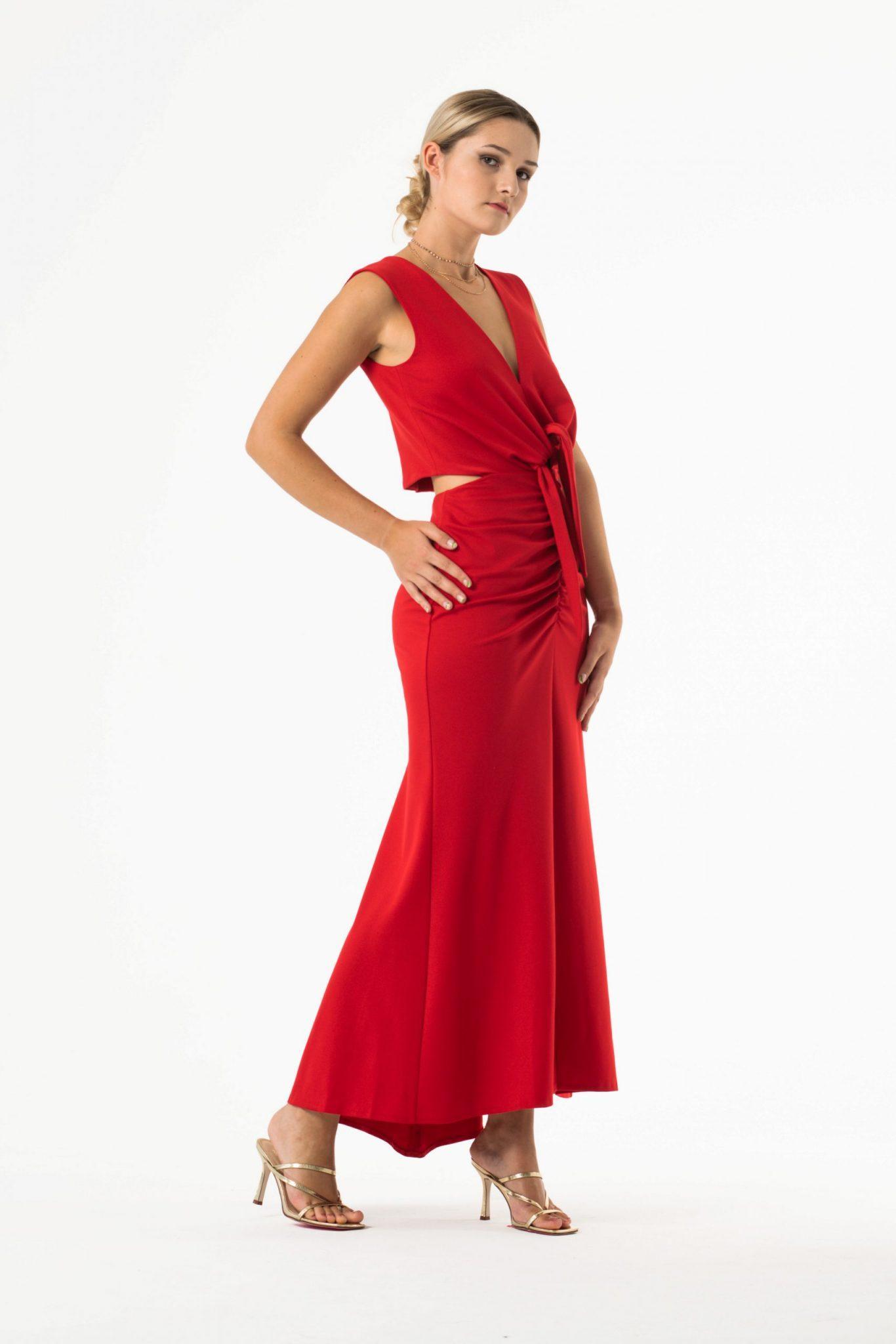 EMI dzianinowa sukienka midi z wiązaniem