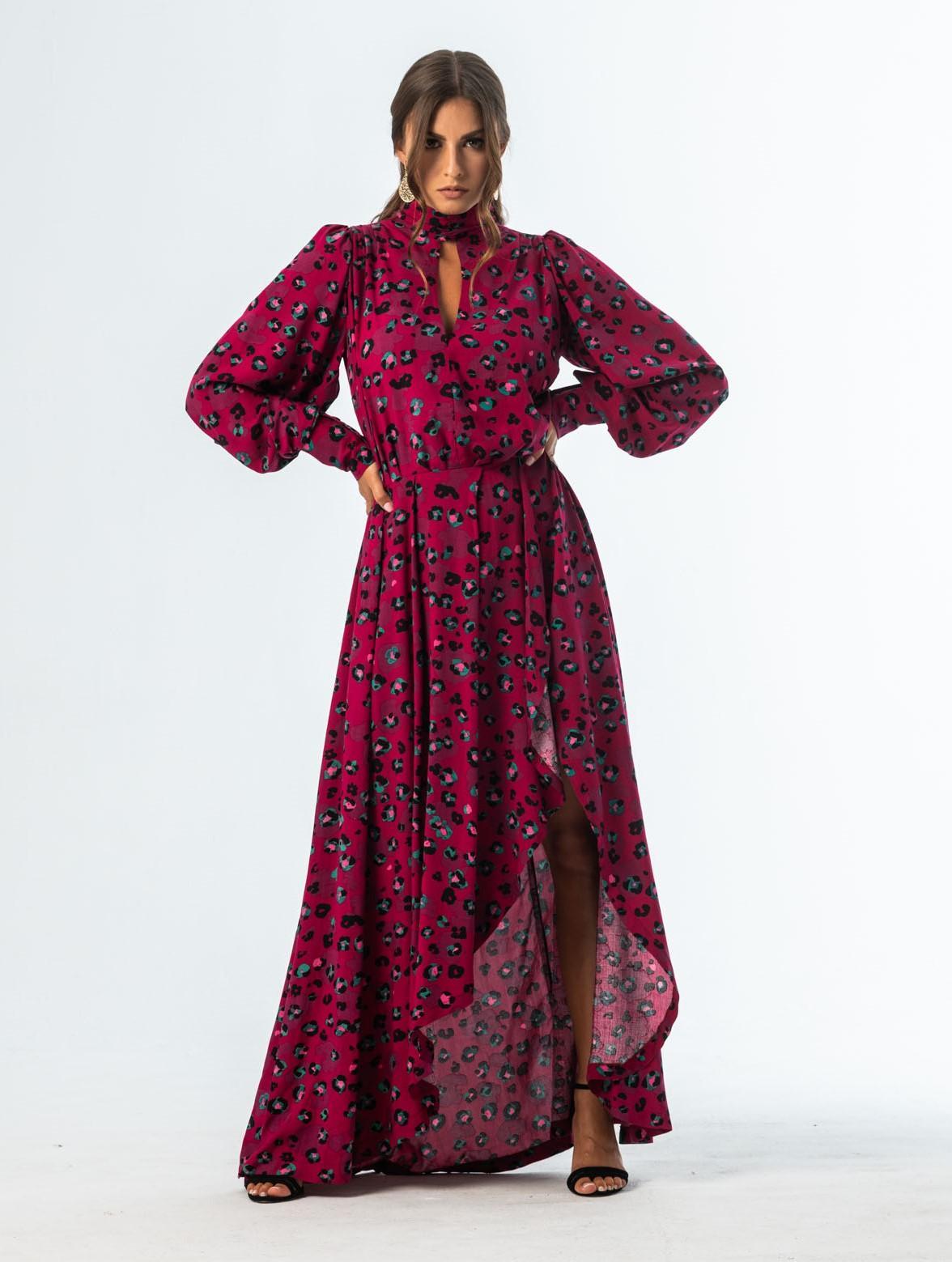 SAURA kopertowa sukienka midi w panterkę