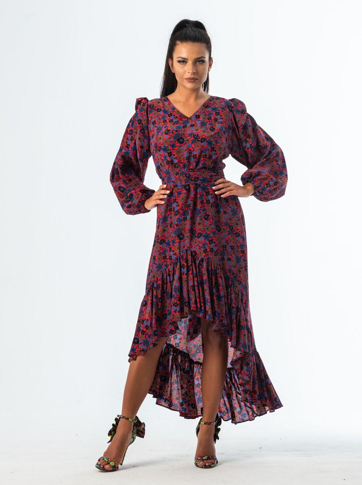 BARCELONA jedwabna sukienka midi z falbaną