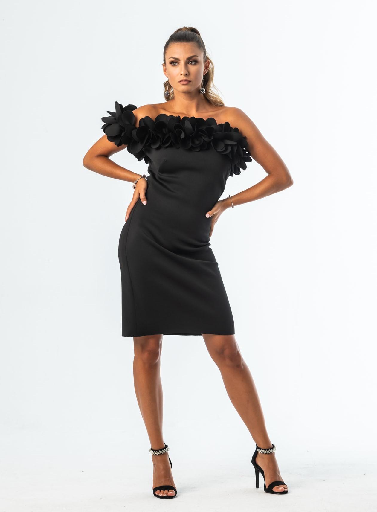 LEAF mini sukienka z dekoltem 3D
