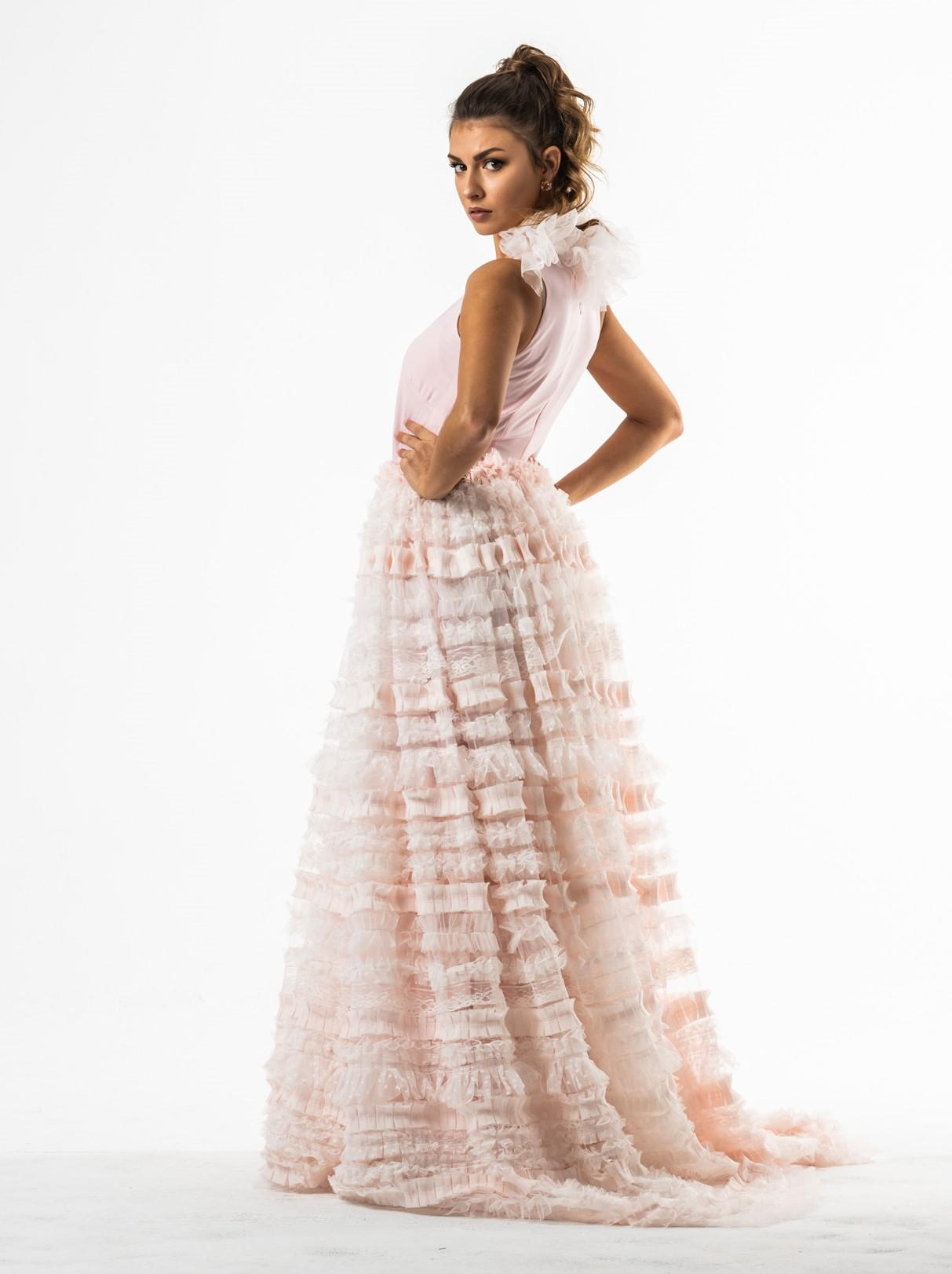 ALICE jasno różowa suknia z koronkową spódnicą